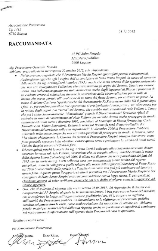 risposta dell'Associazione Ponterosso 25 11 12 alla lettera del PG Noseda